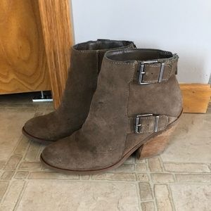 Lucky Brand tan booties with buckles, sz 8.5